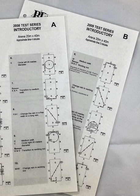 2019 ELEMENTARY TO MEDIUM Test Set Laminated Dressage Tests with Diagrams