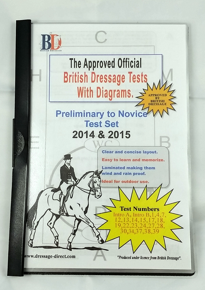 2020 BRITISH DRESSAGE NOVICE TEST SET A4 Laminated with Diagrams